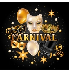Carnival invitation card with gold masks and vector image vector image