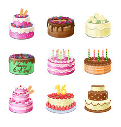 cartoon cakes birthday party tasty cakes set vector image