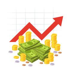 Cartoon savings value growth money profit vector