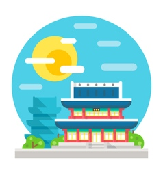 Changdeokgung palace flat design landmark vector