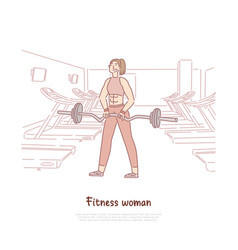 Cheerful sportswoman working out with barbell vector