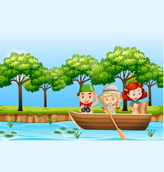 Children paddle wooden boat vector