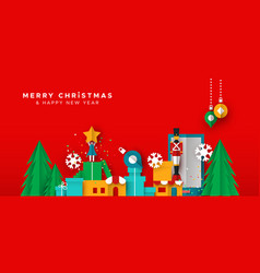 christmas and new year card paper toy city vector image