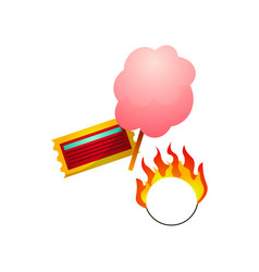 circus ticket sugar cotton candy and fire burning vector image