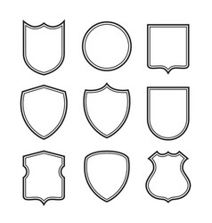 collection shield silhouettes isolated on white vector image