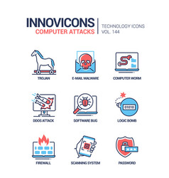 Computer attacks - colorful line design style vector