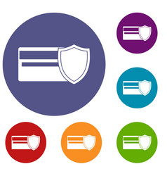 Credit card and shield icons set vector
