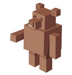 Cubical bear cartoon character vector