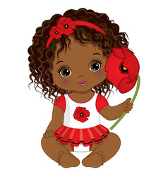 Cute african american baby girl holding poppy vector