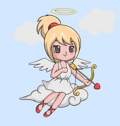 Cute little girl cupid with bow and arrow vector