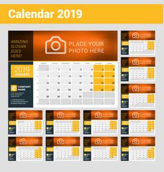Desk calendar for 2019 year design print template vector