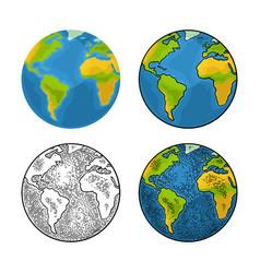 earth planet color vintage engraving vector image