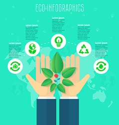 Ecology concept infographic template Save world vector image