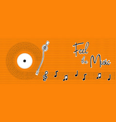 feel music hand drawn musical note banner vector image