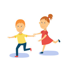 flat cartoon boy girl kid dancing isolated vector image