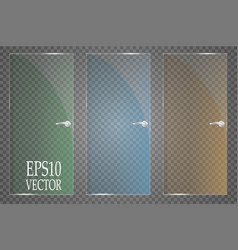 glass plates are installed glass banners vector image