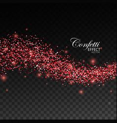 Glittering red stream of sparkles vector