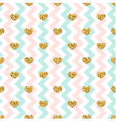 Gold heart seamless pattern pink-blue-white vector