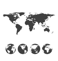 Gray map of the world with globe icons vector