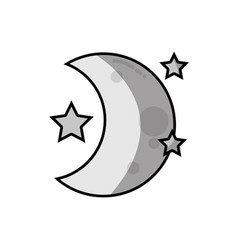 Grayscale cute moon with stars in the night space vector