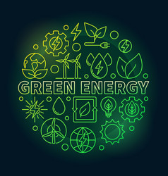 green energy outline colorful vector image
