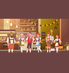 Group people drink beer in bar oktoberfest vector