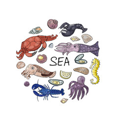 hand drawn seafood in circle shape isolated on vector image