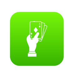 Hand holding playing cards icon digital green vector