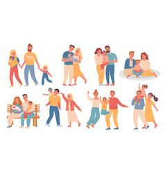 happy families parent and kid walk hug read vector image