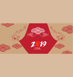 happy new year pig 2019chinese new year greetings vector image