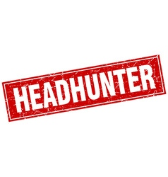 Headhunter red square grunge stamp on white vector
