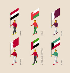 Isometric 3d people with flags of middle east vector