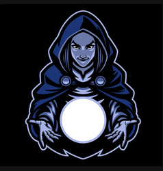 lady witch mascot with magic glass ball vector image