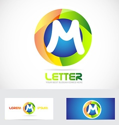 Letter M 3d logo vector image