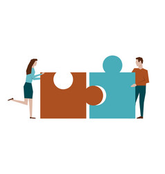 Man and woman assemble puzzle on white vector