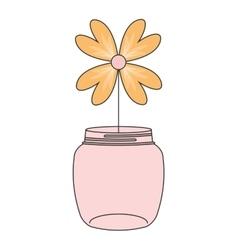 Mason jar with flower deoration vector