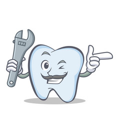 Mechanic tooth character cartoon style vector