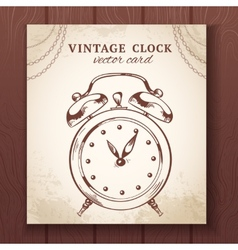 Old retro alarm clock card vector image