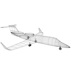 passenger airplane wireframe concept blue vector image