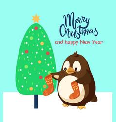 Penguin cartoon character with socks near tree vector