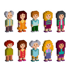 Pixel art style cartoon isometric characters vector