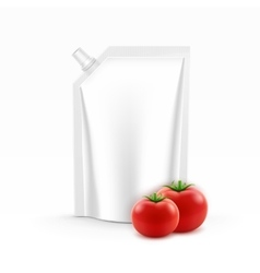 Plastic Pack of Tomato Ketchup with Fresh Tomatoes vector image