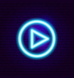 Play neon sign vector