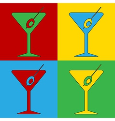 Pop art martini glass icons vector
