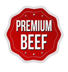 Premium beef label or sticker vector