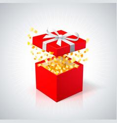 red gift box with golden confetti on white vector image