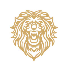 roaring lion gold logo mascot vector image