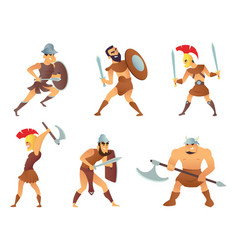 Rome knights or gladiators in different action vector