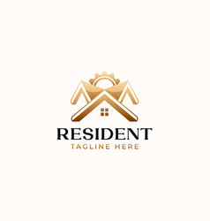 Roof house construction gold gradient logo vector