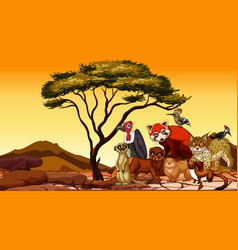 Scene with many african animals on dry land vector